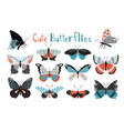 colorful butterfly icon set vector image vector image