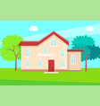 cottage house multi storey building with entrance vector image