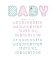 cute textile font in pastel pink and blue for vector image