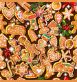 endless texture with traditional christmas symbols vector image vector image