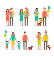 family members cartoon characters walking together vector image vector image