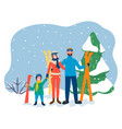 family on skiing resort winter vacation vector image vector image