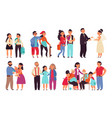 family stages cartoon men play with children vector image vector image