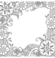 Floral hand drawn square frame in zentangle vector image