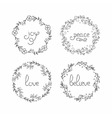 Floral wreath set Line lettering Greeting vector image vector image