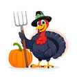 happy thanksgiving day funny turkey bird vector image vector image