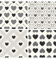 Heart shape seamless patterns Black and vector image vector image