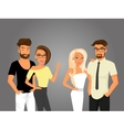 Hipster guys and their pretty girlfriends vector image