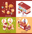 honey production 4 isometric icons vector image vector image