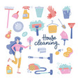 house cleaning service woman character vector image