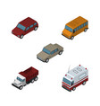 isometric car set of freight first-aid auto and vector image vector image