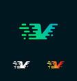 letter v modern speed shapes logo design vector image vector image