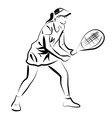 Line sketch of tennis player vector image vector image