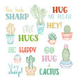 linear cacti and hand-written lettering on white vector image vector image