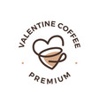 love coffee tea cup valentine heart logo icon vector image