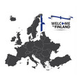 map of europe with the state of finland vector image vector image