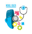 mental healthy with stethoscope and hospital vector image vector image