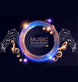 music event shining banner with golden notes and vector image