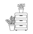 office cabinet with potted plants decoration vector image vector image