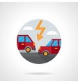 Round flat color car crash icon vector image vector image