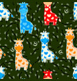 seamless pattern with baby giraffes characters vector image vector image