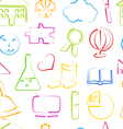 Seamless Wallpaper with Colorful School Objects vector image