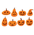 set cute and scary halloween pumpkins with vector image vector image
