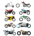 set of 10 motorcycles isolated on white in modern vector image