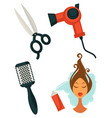 set of hairdressing items vector image vector image