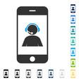 smartphone operator contact portrait icon vector image