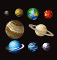 solar system cartoon set vector image