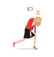 tired exhausted businesswoman with red low battery vector image vector image