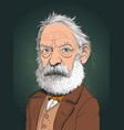 victor hugo cartoon portrait in line art vector image vector image
