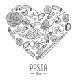 vintage italian pasta restaurant vector image vector image