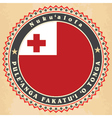 Vintage label cards of Kingdom of Tonga flag vector image