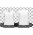 white short sleeves polo shirt front and back side vector image