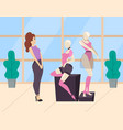 woman looking at mannequin in clothing store vector image vector image