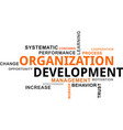 word cloud - organization development vector image vector image