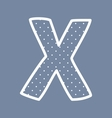 X alphabet letter with white polka dots on blue vector image vector image