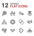12 teamwork icons vector image vector image