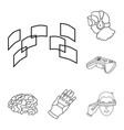 a virtual reality outline icons in set collection vector image vector image