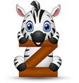 alphabet z with zebra cartoon vector image