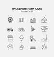 amusement park line icons flat design vector image