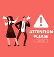 attention banner or web page template vector image vector image