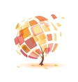 autumn tree abstract icon vector image vector image
