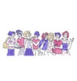 banner with group diverse women cartoon vector image