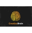 brain logo design creative grunge style vector image