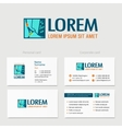 Building logo design with business card vector image