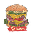 burger make fat vector image