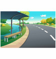bus stop on a clear day vector image vector image